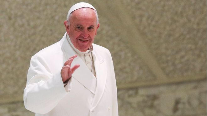 Pope Francis, seen here at the Vatican, will stop over in Cuba on his way to Mexico, Reuters